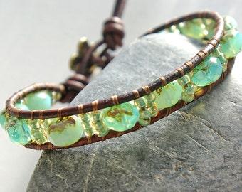 Leather Wrap Bracelet - Blue Green Beaded Leather Bracelet Wrap - Sea Green/Blue opalescent