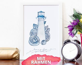 Poster with frame A4, lighthouse, home is where your heart is, lettering and Frisian-Blue watercolor illustration