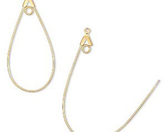 5 pairs Gold Plated Brass Smooth Teardrop with Loop Beading Hoops 40mm x 22mm F245