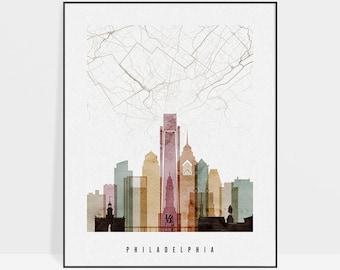 Philadelphia map, Philadelphia map poster, print, City maps, Philadelphia skyline, Wall art, Travel gift, Home Decor, ArtPrintsVicky