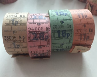 4 Rolls of vintage bus tickets from the UK
