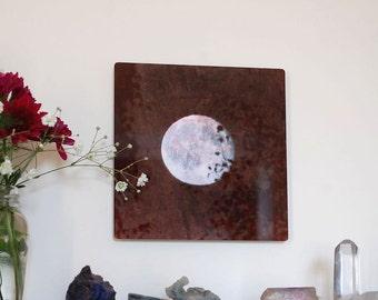 Reflection, Metal Panel, Moon Photograph on aluminum, Full Moon in grey sky photo, aluminium high gloss gray & white wall art,