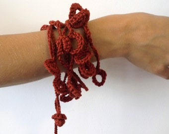 Textile jewelry--Red wine----- Cotton...............Necklace / Bracelet---