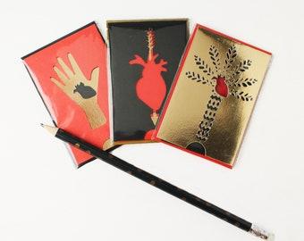 Série limitée 3 Cartes Expressions Françaises en papier découpé Rouge Or Noir