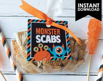 Monster Scabs Halloween Printable Favor Treat Gift Tag Instant Download (PDF File only)