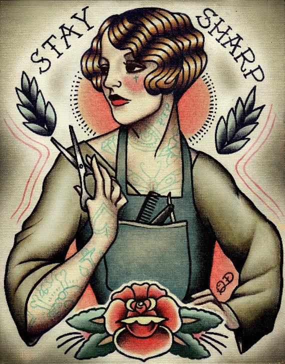 Favorite Barber Girl Tattoo Art Print SS91