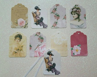 Victorian Favor Tags *Victorian Ladies and Roses Favor Tags  *Victorian Bridal Shower Favor Tags *Victorian Rose Garden *Set of 24