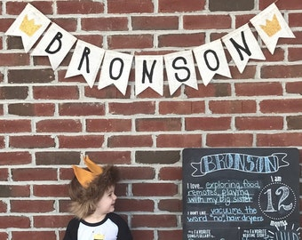 Custom Personalized Name Banner, Where the Wild Things Are First Birthday Banner Shower Decor, First 1st Birthday Banner, Nursery Decor