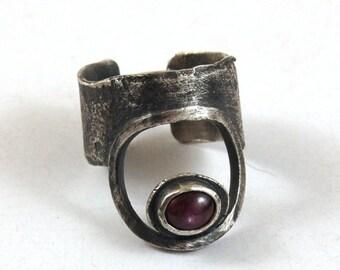 ruby silver ring, oxidized raw rough silver ring