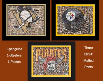 Pittsburgh Sports Mosaic Print Art using Player Photos from the Steelers, Penguins and Pirates. 3 Matted Prints.