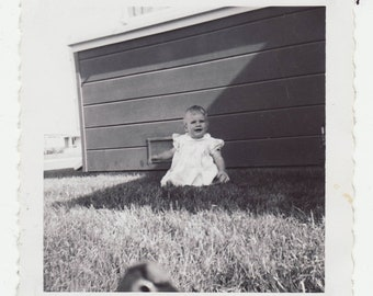 1950's Vintage Photograph Baby in Grass, Smiling, Outside, Grass, Spring, Summer, Vernacular, White Dress, Sitting, Play, Yard, Child