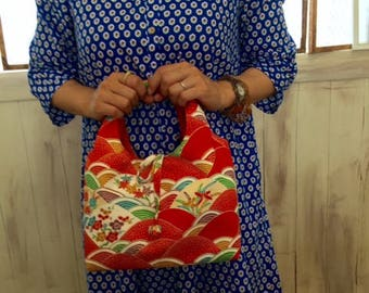 No.16 Japanese Kimono Bag,  Japanese lunch box bag, Japanese bento box bag