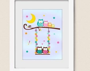 PRINTABLE NURSERY OWL Swing Wall Art Moon Stars Digital Download Baby Girl Room Decor - Tree Branch Lightning Bug