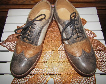 Bed Stu ~ Oxfords ~ Black/ Rust/ White ~ Distressed ~ Vintage ~ Recycled ~ Women's ~ Size 10.5 Medium