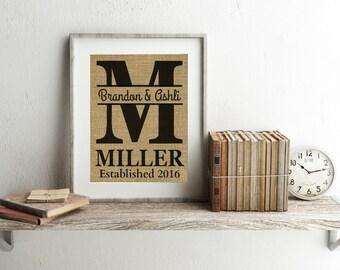 Personalized Last Name Print - Monogram Print - Personalized Wedding Gift - Wedding Date Sign - Burlap Print - Last Name Sign - Established