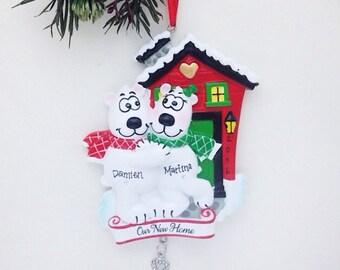 New Home - Polar Bear Couple - Personalized Christmas Ornament - Couple Ornament