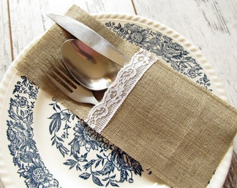 SET OF 20 wedding rustic burlap silverware holders with white lace, cutlery holders