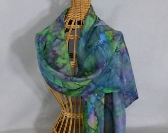 """Silk Scarf """"Teal and Green Blend"""", Hand Painted Silk Scarf"""