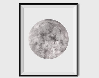 Watercolor Moon Print, Full Moon Print, Moon Art Print, Watercolor Moon Poster, Celestial Print, Black and White, Wall Art, Celestial Poster