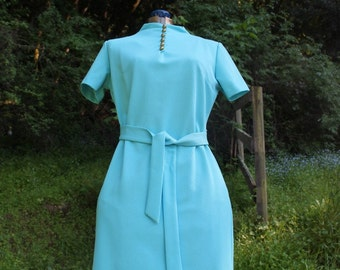 1960's Belted Shift Dress // Small or Medium // Turquoise