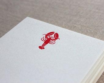 Flat Card Set with Letterpress Lobster (vertical)
