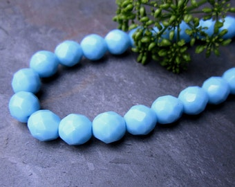Turquoise Blue Faceted Firepolished 4mm Beads