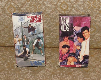 "Donnie Wahlberg!  Pair of Classic 1990s New Kids on the Block VHS!  ""Hangin' Tough"" & ""Step by Step"" / Each Has 50+ Minutes Music + Dance"