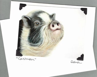 Pig Card - Pot Bellied Pig  Card - Micro Pig Card - Postcard Greeting Card Combination - 10% Benefits Animal Rescue