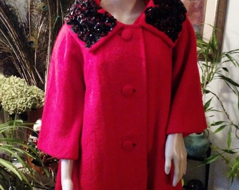 40s 50s Coat Lilli Ann SALE Crimson Red Sequined Wool RARE Collectible BiG Swing Estate SaLE OaK-Flattering- Trendy- Striking PARTY Ready