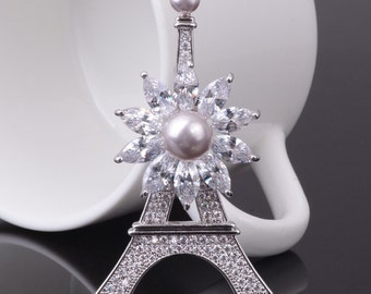 "Fashion Gift Accessories Brooch ""Eiffel Tower"" Zircon Scarf Lapel Pin"