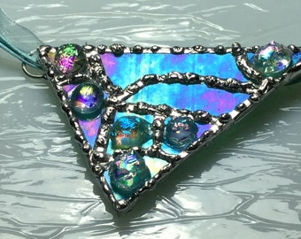 Stained/Fused Dichroic Glass Pendant Necklace