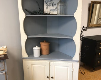 Shabby Chic Farmhouse Kitchen Corner Cabinet Hutch China Cabinet White Gray  Blue Distressed
