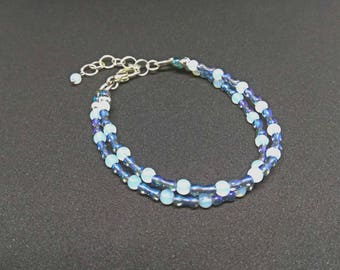 Moonstone bracelet, moonstone beads bracelet, glass bracelet, beaded bracelet, silver bracelet, gemstone bracelet