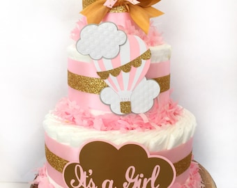 Hot Air Balloon Diaper Cake, Up Up and Away Baby Shower Decoration, Girl Diaper Cakes