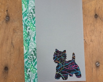 West Highland Terrier Doggy Tales Notebook in Liberty London Art Fabric