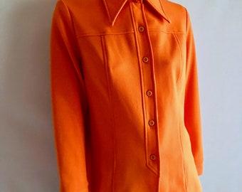 Vintage Women's 70's Orange, Alex Coleman, Polyester, Jacket, Butterfly Collar (L)