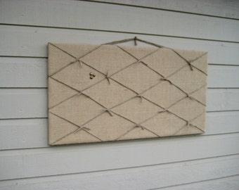 Burlap Pin Board, Burlap and Twine Bulletin Board with nautical knots, Wedding photo display board, natural burlap with twine knots