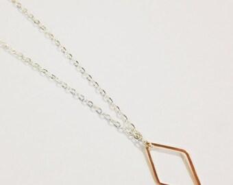 Geometric Diamond Necklace, Rose Gold Diamond Necklace, Dainty Diamond Necklace, Diamond Shape, Minimal Diamond, Geometric Jewelry
