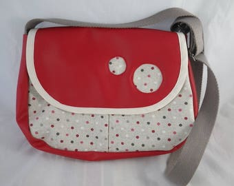 Sac025 - Sac besace rouge  et pois