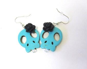Blue Sugar Skull Earrings Day Of The Dead Jewelry Black Flower