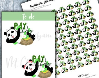 Pay Day Mr. and Ms. Panda Printable Planner Stickers,DIY stickers,Functional Sticker,Hand Drawn Stickers,Cute Stickers,Kawaii,Cut File