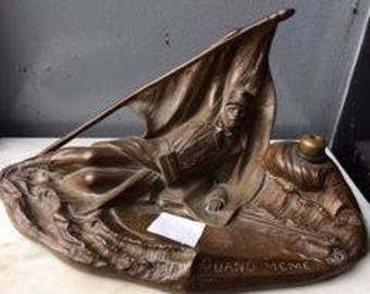 Bronze Inkwell (French) 'Fallen Soldier'