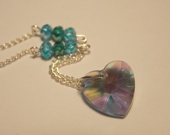 Crystal Heart Necklace- Blue