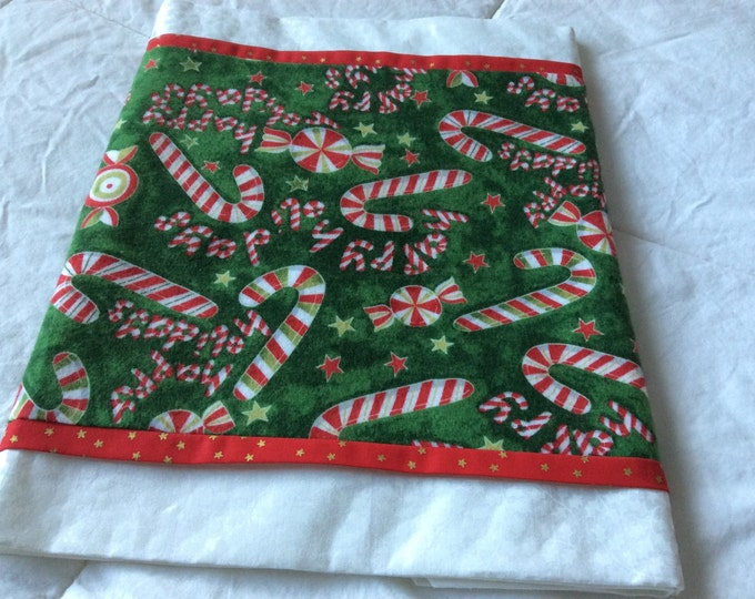 SALE-Candy Cane with white Holly Trim Table Runner