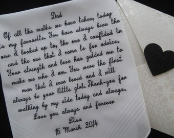 109 to 40 words of your choice. Brides who would like to exceed our 40 word limit. Custom embroidered Wedding Handkerchief Gift. Mom or Dad.