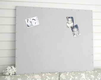 "Huge X-Large Gray Linen Magnetic Memo Board 34 x 42"" Bulletin Board Hardwood Construction, Silver Upholstery Tacks Button Magnets"