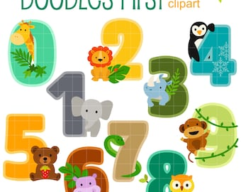 Animal Numbers Digital Clip Art for Scrapbooking Card Making Cupcake Toppers Paper Crafts