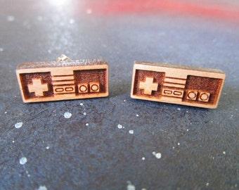 Retro Video Game Controller Stud Earrings, Vintage Gamer, Cherry Wood NES Earrings, Hypoallergenic Option