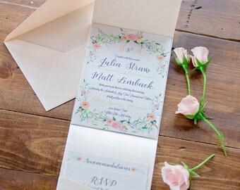 Wedding Invitation Floral Blush Tones