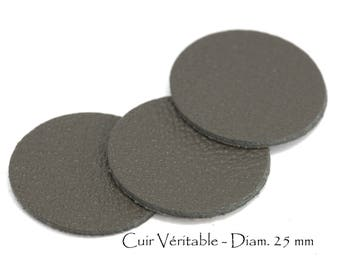 6 round genuine leather - Diam. 25 mm - goat leather - charcoal grey color set